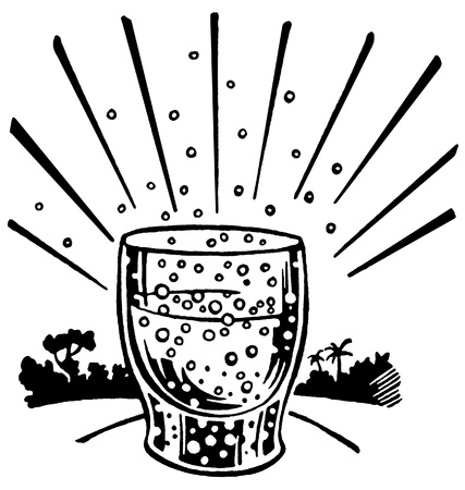 A black and white version of an illustration of an effervescent drink Banco de Imagens