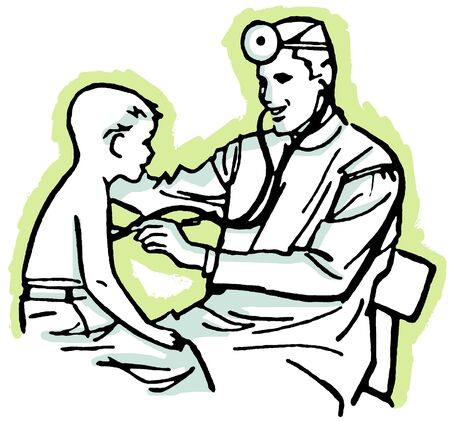 care: A vintage drawing of a doctor having a consultation Stock Photo