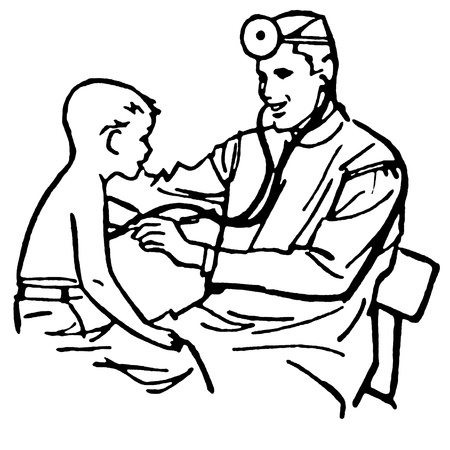 medical drawing: A black and white version of a vintage drawing of a doctor having a consultation