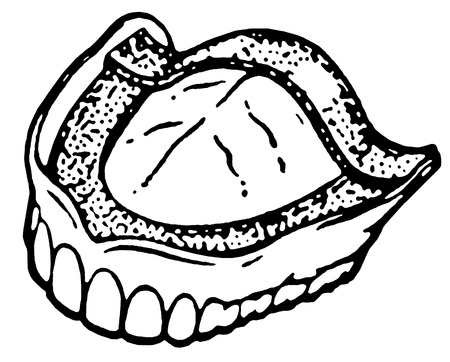 A black and white version of a vintage print of dentures Stok Fotoğraf