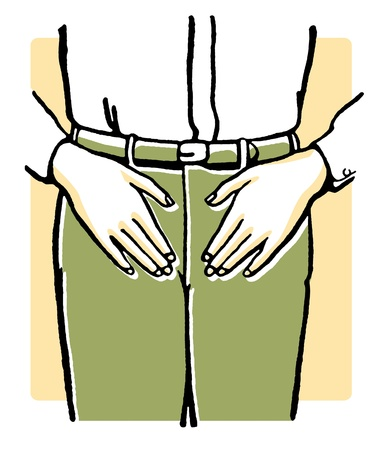 midsection: A vintage illustration of an mans midriff