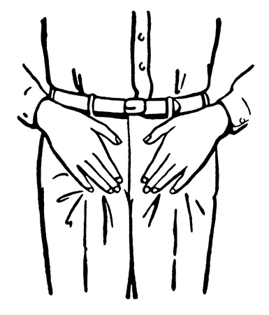 groin: A black and white version of a vintage illustration of an mans midriff