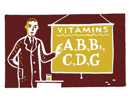 An illustration of a man with a sign reading Vitamins A; B etc Stock Photo