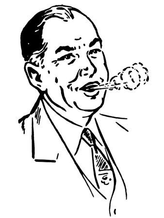 A black and white version of a vintage print of a man coughing