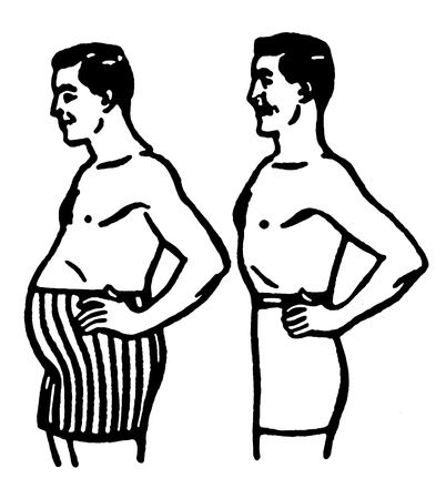 pot belly: A comparison of body shapes Stock Photo