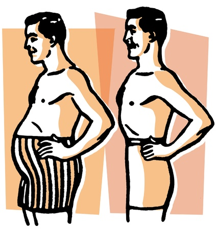 pot belly: A black and white version of a comparison of body shapes