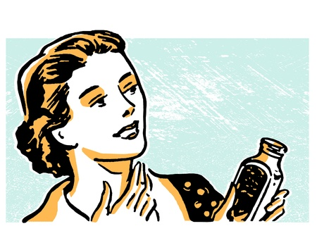 cough syrup: An illustration of a woman fixing her cough