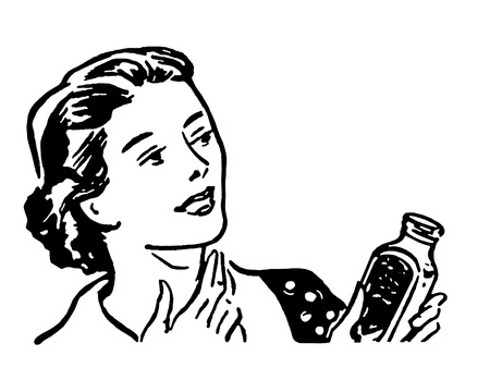 A black and white version of an illustration of a woman fixing her cough Stock Photo