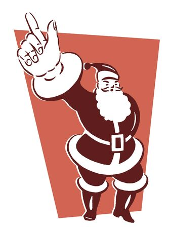 fullbody: A black and white version of a Christmas inspired Santa illustration Stock Photo