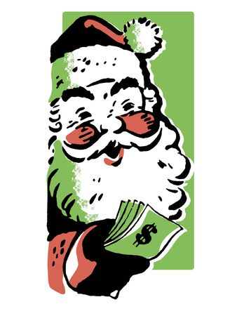 A black and white version of a Christmas inspired Santa illustration Stock Illustration - 14917878