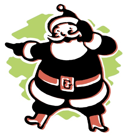 A black and white version of a Christmas inspired Santa illustration Stock Illustration - 14917495