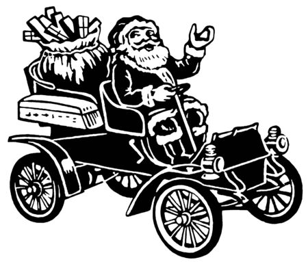 A Christmas inspired illustration of Santa in a car full of gifts illustration