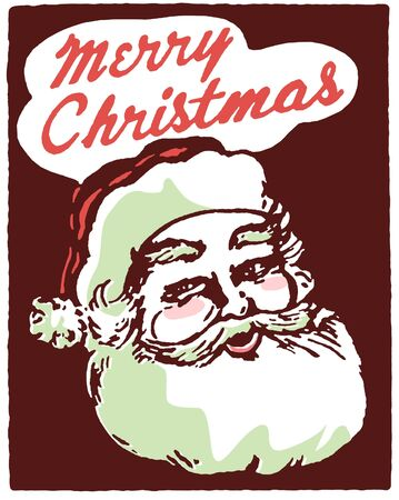 A Christmas inspired Santa illustration with the text Merry Christmas illustration