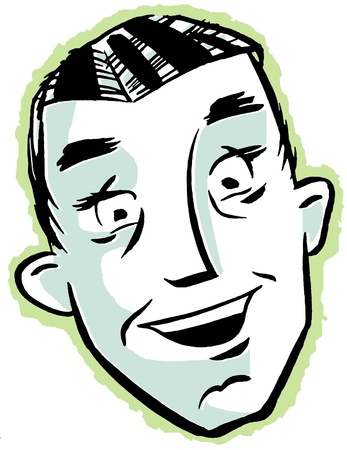 An illustration of a happy looking man