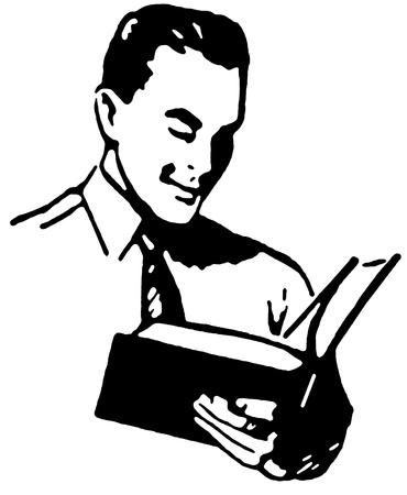 Een zwart-wit versie van een ouderwetse tekening van een man het lezen van een boek