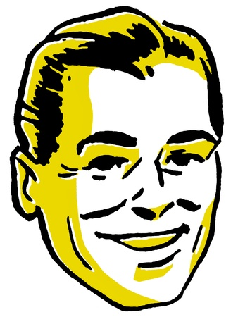 slicked: An illustration of a happy looking man