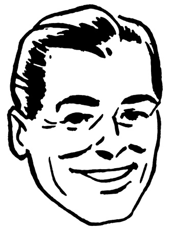 A black and white version of an illustration of a happy looking man Stock Photo