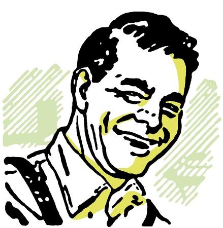 A vintage print of a happy man