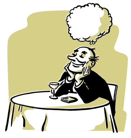 An illustration of a man daydreaming at a cocktail lounge table