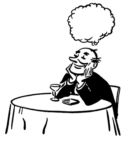 A black and white version of an illustration of a man daydreaming at a cocktail lounge table illustration
