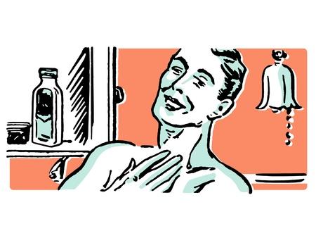 A vintage illustration of a man shaving in the morning illustration