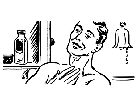 A black and white version of a vintage illustration of a man shaving in the morning illustration