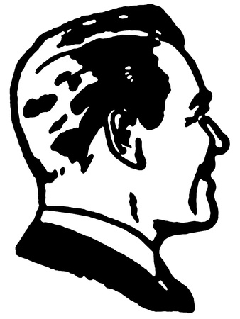 A black and white version of a graphical illustration of a mans profile illustration