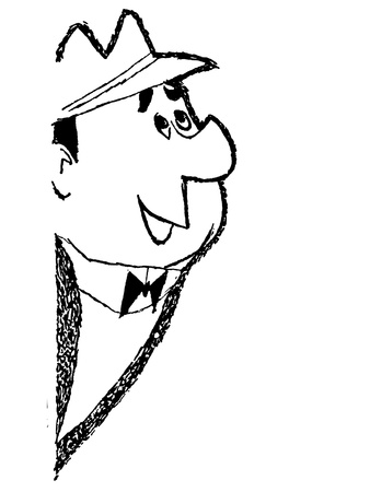A black and white version of a cartoon style drawing of a smartly dressed man