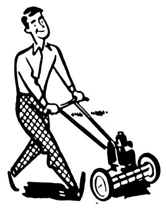 A black and white version of a man moving the lawns photo