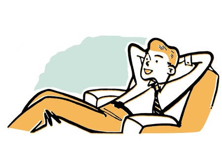 A businessman relaxing in a lounge chair