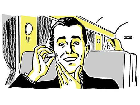 shaver: A vintage drawing of a man using an electric shaver on a train