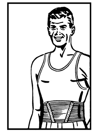 wifebeater: A black and white version of a vintage print of an athlete Stock Photo