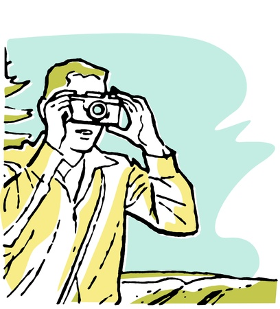 A vintage drawing of a man taking a photograph Stock Photo - 14918032