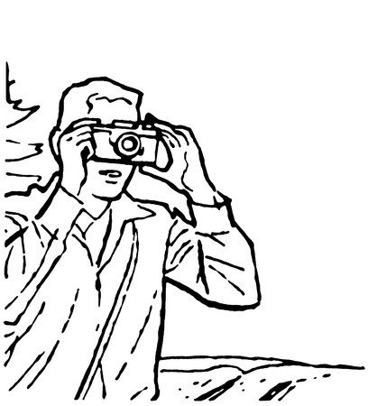 A black and white version of a vintage drawing of a man taking a photograph Stock Photo - 14917599