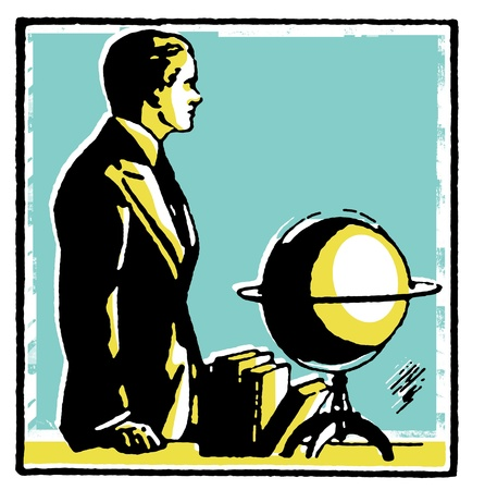 A graphical drawing of a man with a word globe Stock Photo