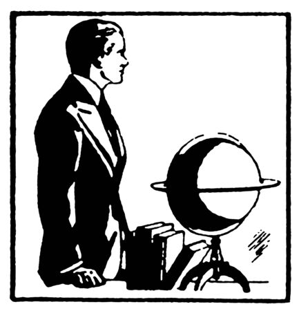 A black and white version of a graphical drawing of a man with a word globe photo