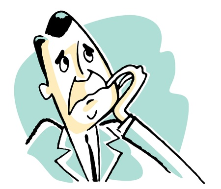 A cartoon style drawing of a worried man