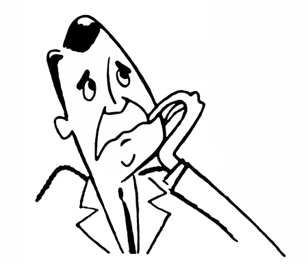 A black and white version of a cartoon style drawing of a worried man Stock Photo - 14917255