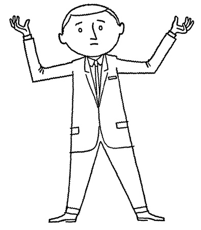 sad businessman: A black and white version of a cartoon style drawing of a man on the edge of giving up Stock Photo