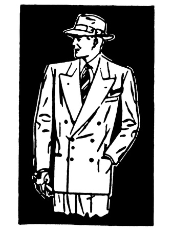 white coat: A black and white version of a graphical drawing of a detective character Stock Photo