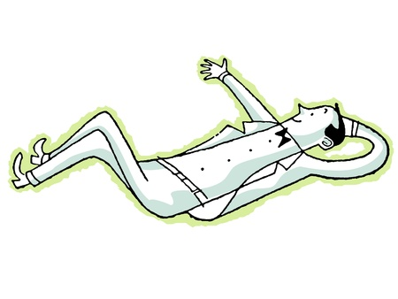 A cartoon style drawing of a man kicking back and relaxing