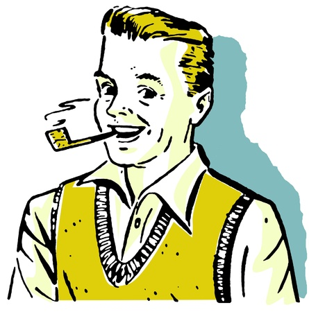 good looking man: A graphical illustration of a man enjoying a pipe Stock Photo