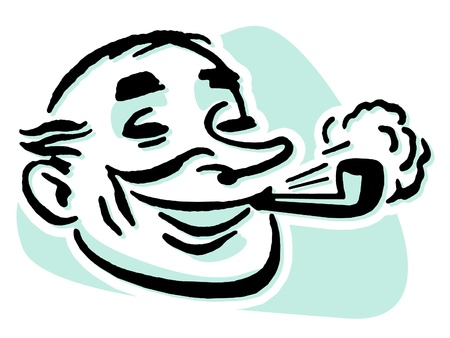 A cartoon style drawing of a man smoking a pipe