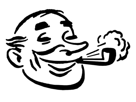 A black and white version of a cartoon style drawing of a man smoking a pipe photo