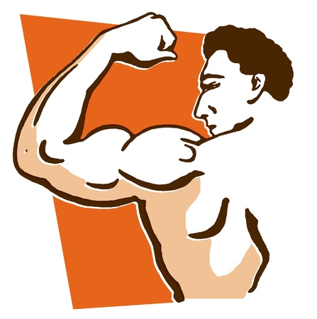 barechested: A line drawing of a muscular male Stock Photo