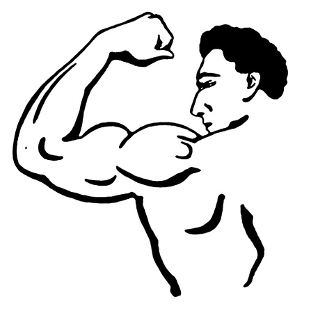 A black and white version of a line drawing of a muscular male Stock Photo
