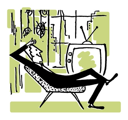 テレビの前でリラックスした男の簡単に割り切っている漫画 写真素材