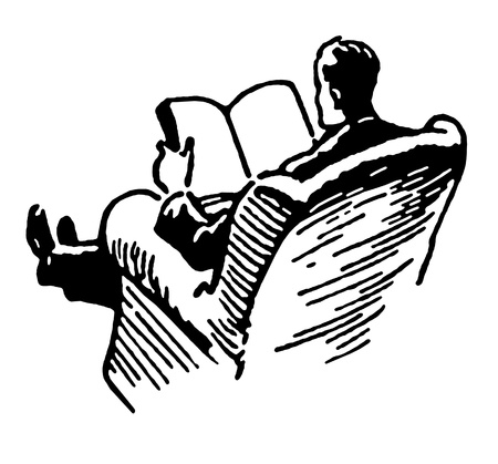 man: A black and white version of a man relaxing reading a book