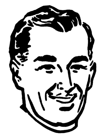 slicked back hair: A black and white version of a graphical portrait of a man
