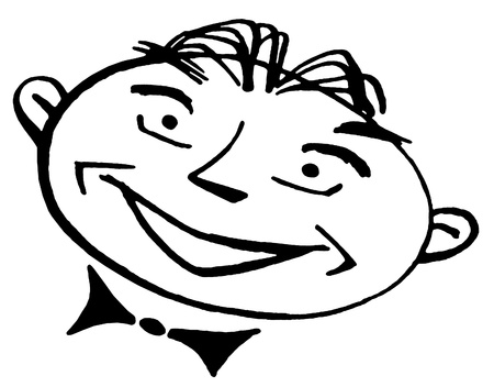 A black and white version of a cartoon style portrait of a man